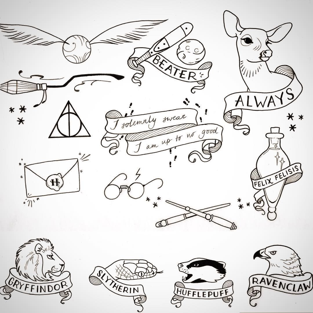 Pin by jessica galarza on tattoo pinterest poudlard harry potter and dessin - Harry potter dessin ...