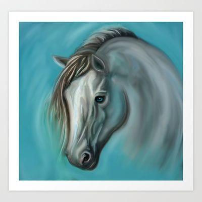 White Horse Art Print by Veronica Ventress - $17.68