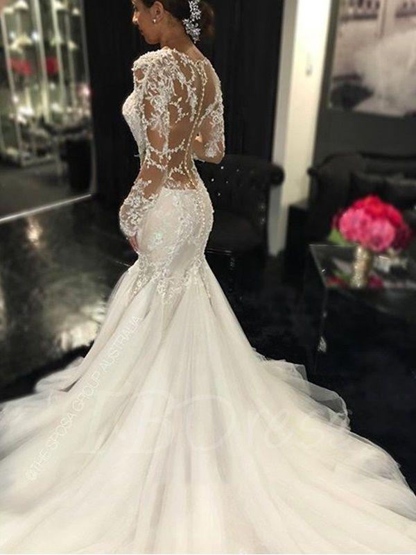 Gauze Scoop Neck Long Sleeves Lace Appliques Court Train Mermaid Wedding  Dress - m.tbdress.com c3c1dd3cc7f0
