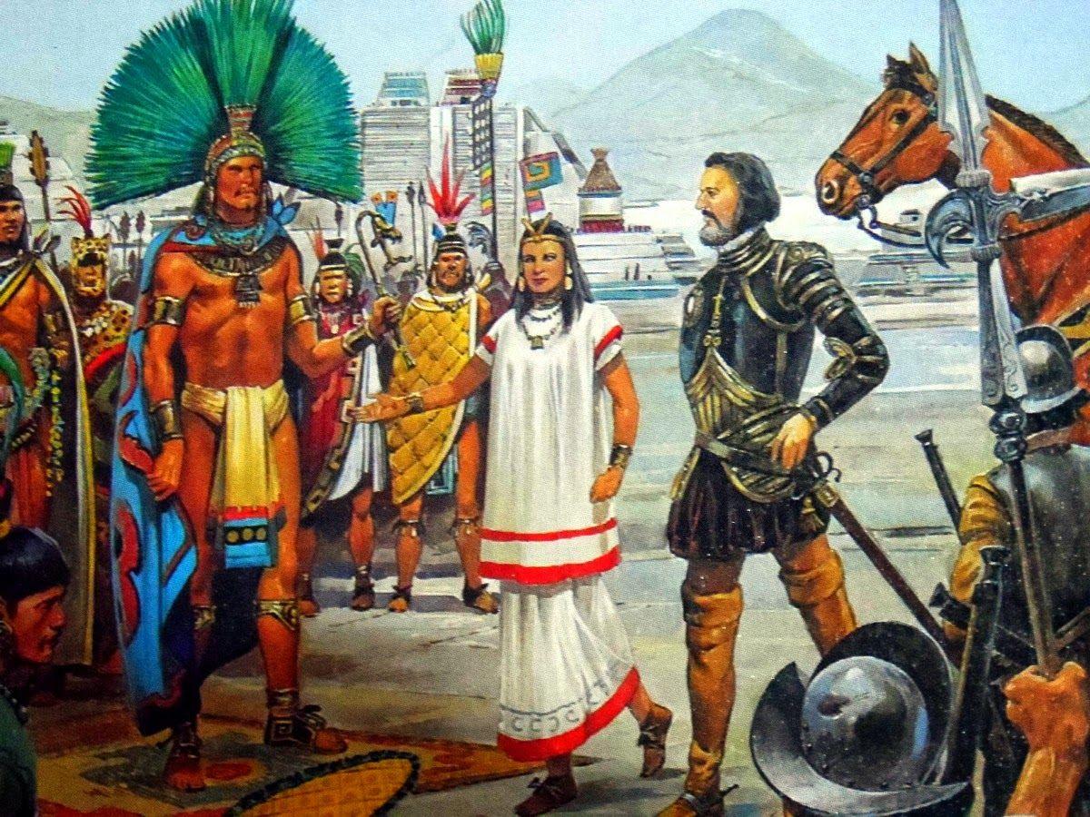 Meeting Between Cortez And The Aztec Emperor