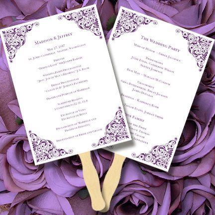 Printable Wedding Program Fan Template \