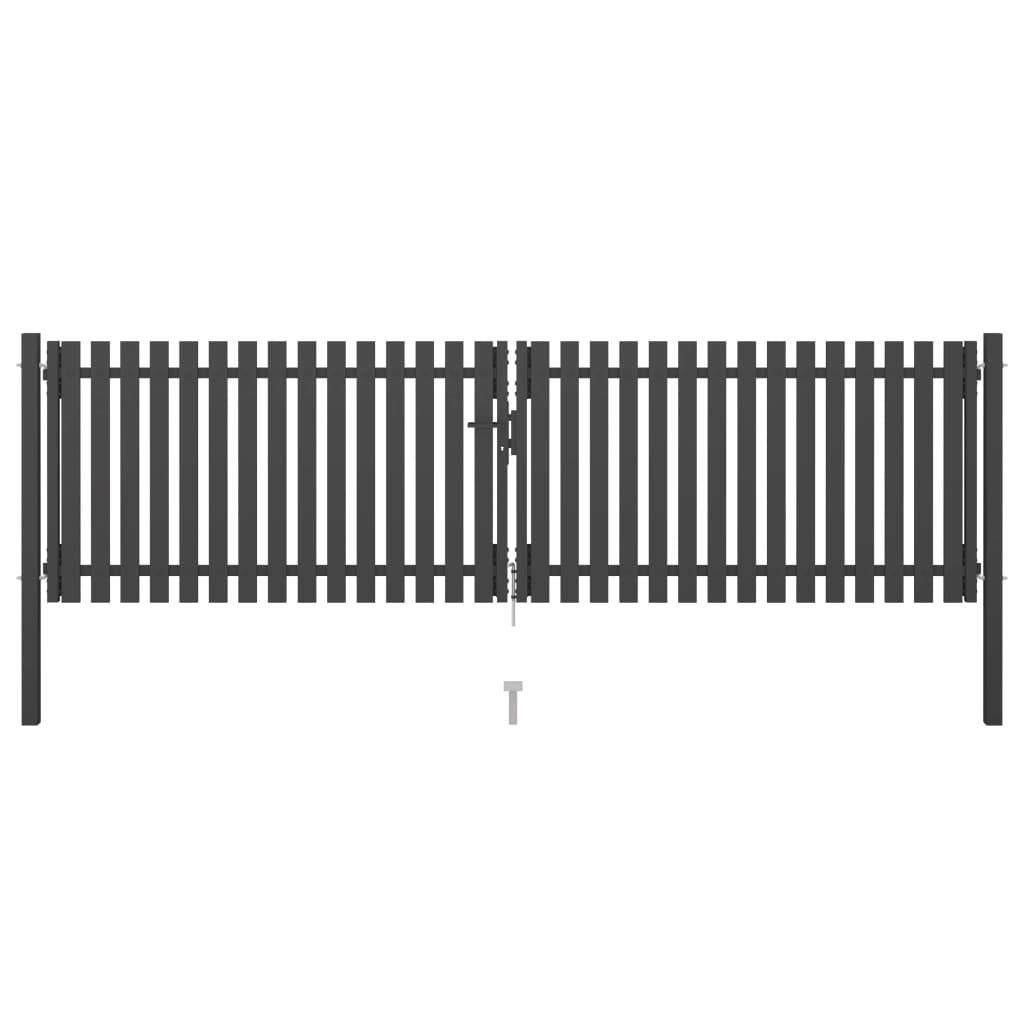 Garden Fence Gate Steel 4×1.25 m Anthracite