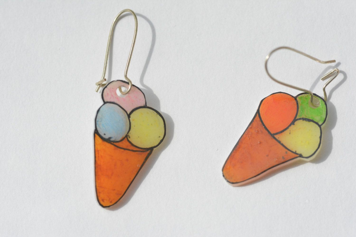 #Orecchini #gelato in #polyshrink. #Earrings #icecream in PolyShrink di #LabLiu su #Etsy