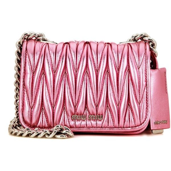 Miu Matelassé Metallic Leather Shoulder Bag 1 705 Liked On Polyvore Featuring Bags