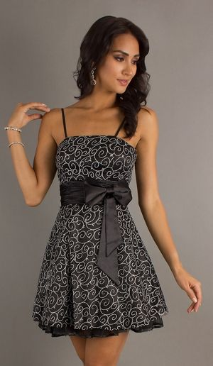 Chic Black Junior Prom Dress Short Spaghetti Straps Bow Waist 9999