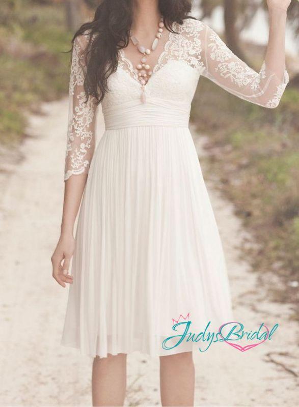 short white lace long sleeve wedding dressjol114 vingate short floaty lace wedding dress with long sleeves