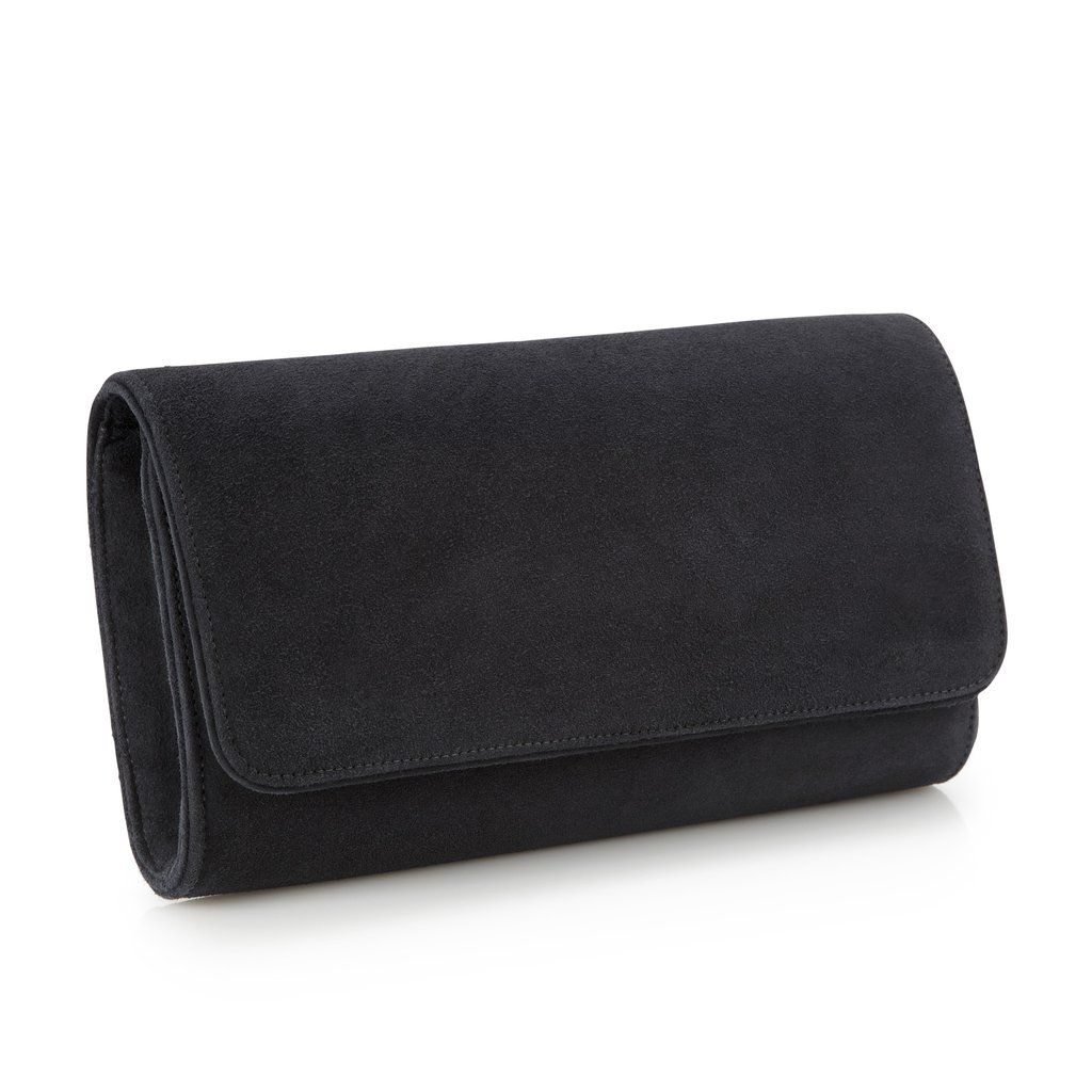 ee2c5f599f89f A classic Emmy London kid suede clutch bag in a rich carbon grey shade.  This stylish hand-crafted clutch is piped in black calf leather and opens  to reveal ...