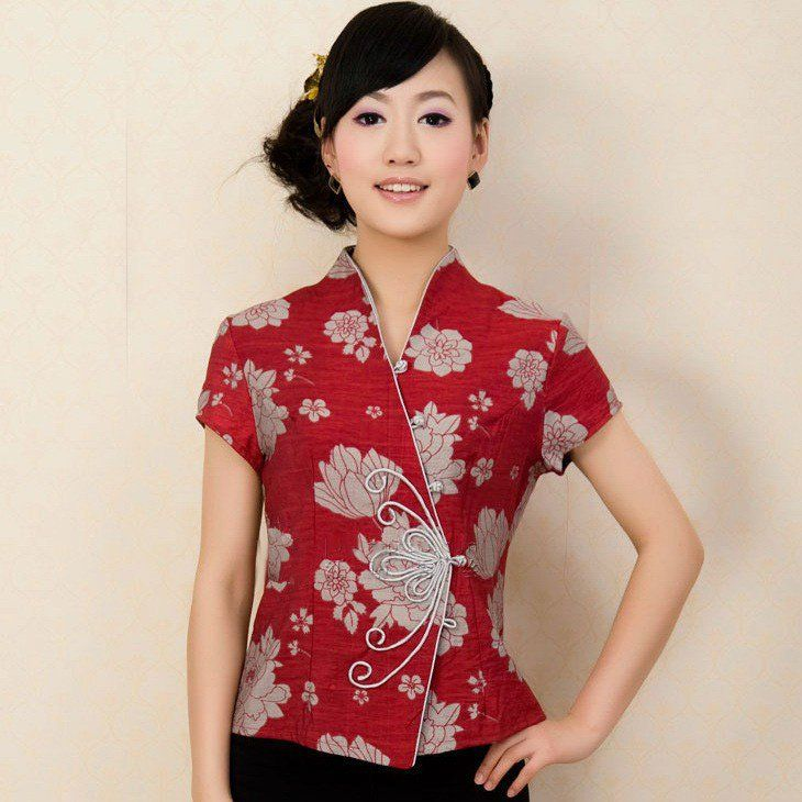 68a8ebb335c63 Red Taffeta Floral Print Butterfly Button Traditional Chinese Shirt for  Women - iDreamMart.com