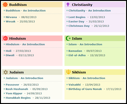 Holidays From The Six Major Religions Including Buddhism - List of major religions