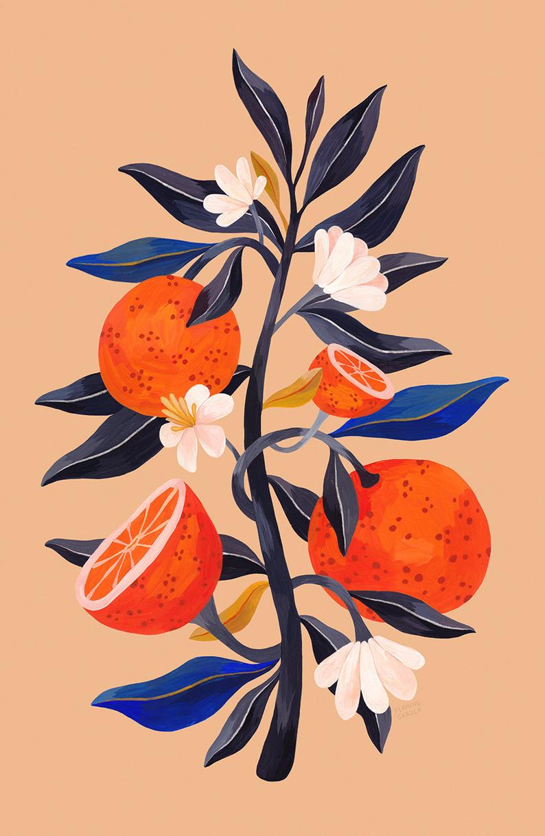 Orange Tree – Fine Art Giclee Print // Botanical Print, Orange Print, Gouache Illustration, Twig Illustration, Poster, Kitchen Art Print