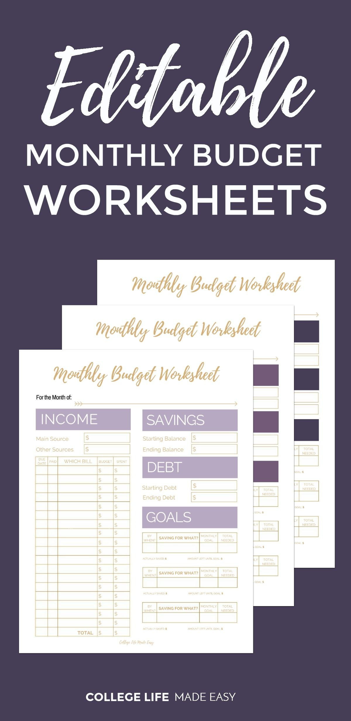 Editable Monthly Budget Printable Template To Get Money