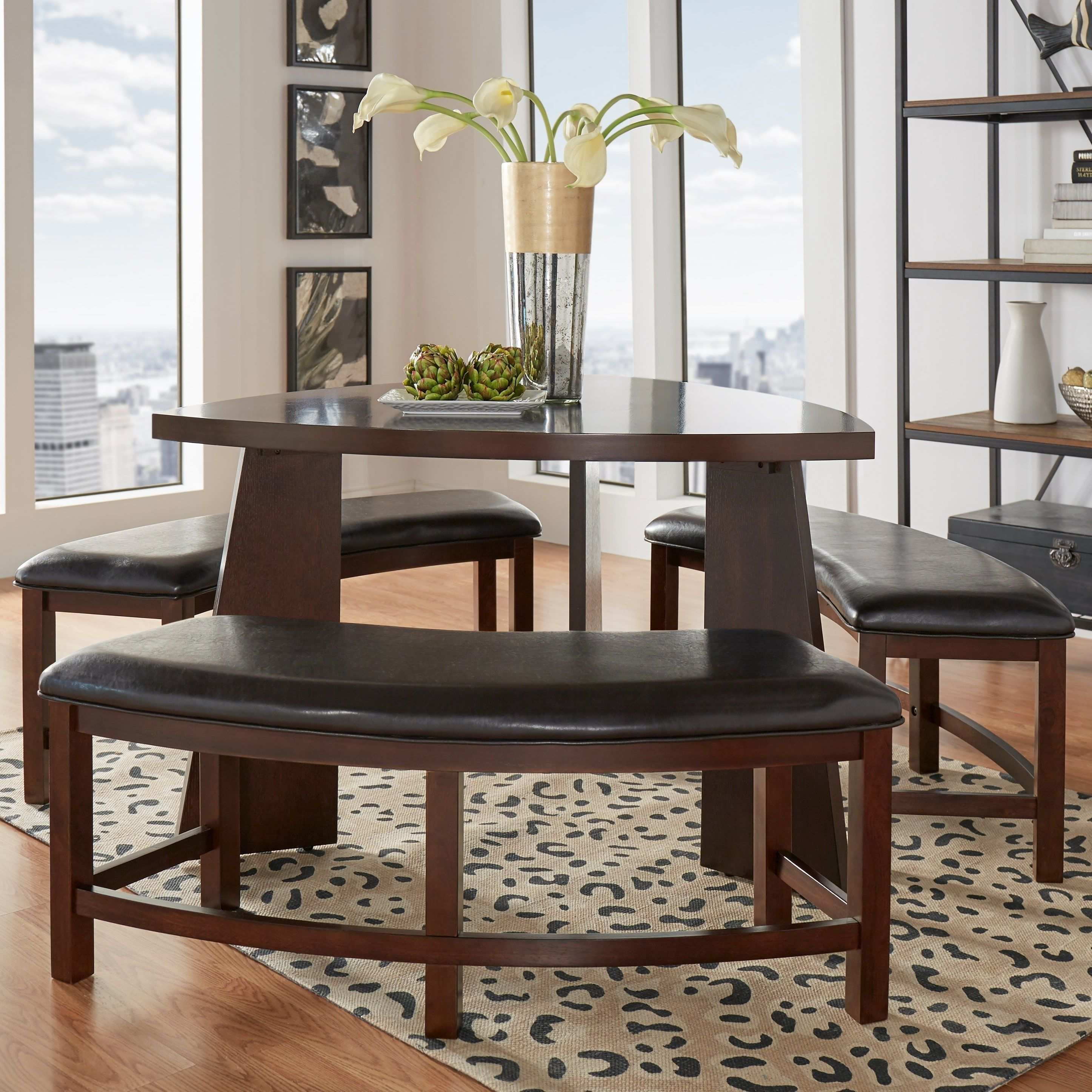 Paradise Merlot Triangle Shaped 4-piece Dining Set by Inspire Q
