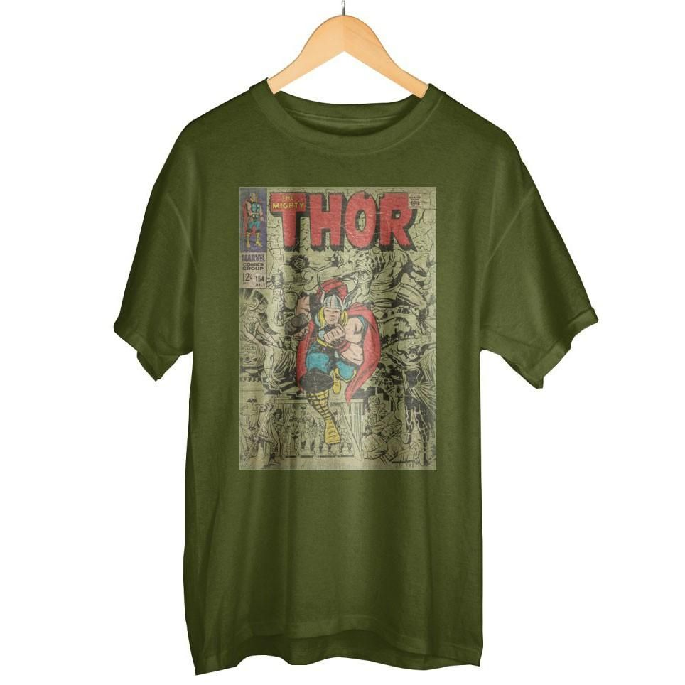 d495b7ab246 Marvel Thor Comic Book Army Green Tee | Products | Marvel comic ...