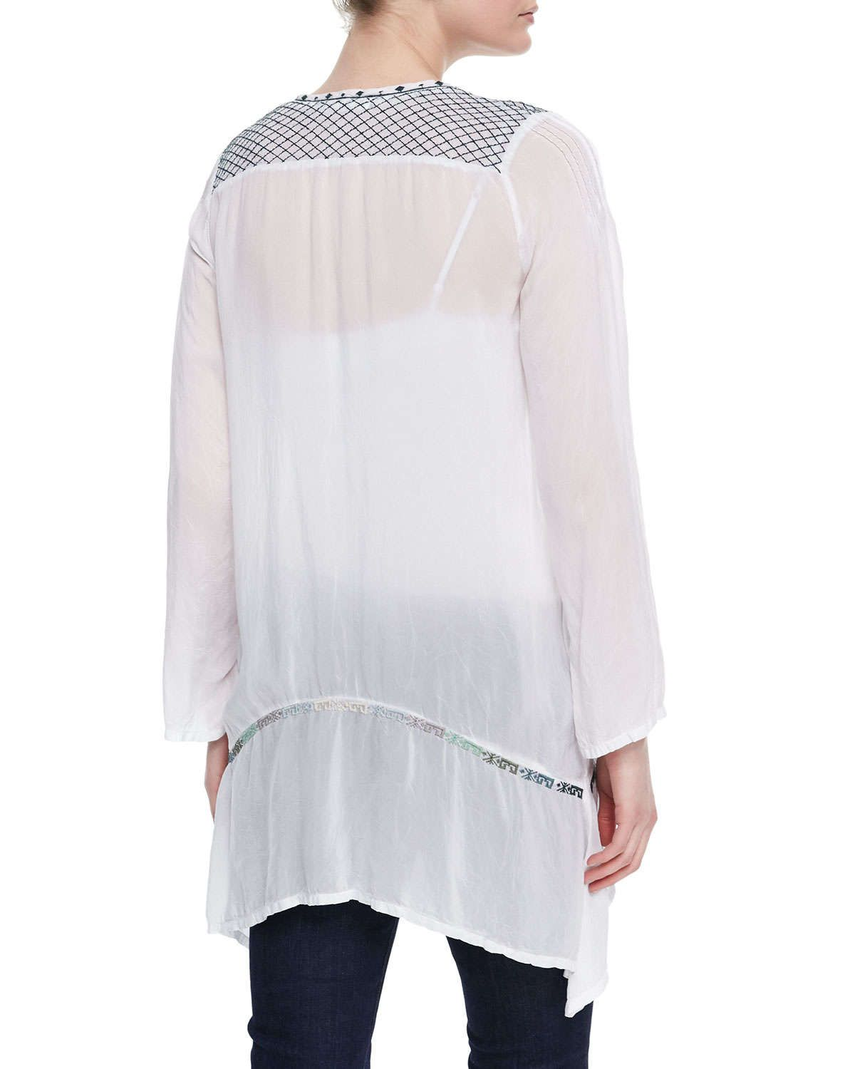 Rose Embroidered V-Neck Long Georgette Tunic