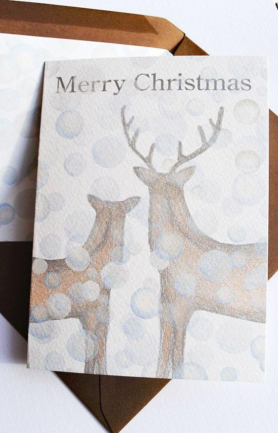deer watercolor Christmas cards, etsy.com | Christmas | Pinterest ...