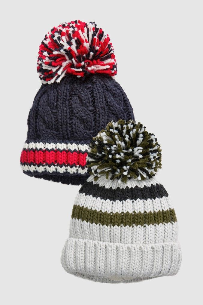 fc0c2640007887 Boys Next Multi Bobble Beanies Two Pack (Younger) - Blue | Products ...
