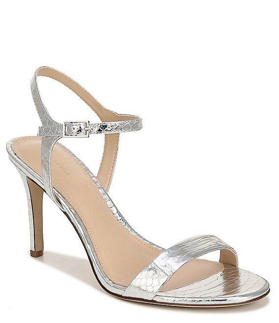 Via Spiga Madeleine Snake Print Metallic Leather Dress Sandals | Dillard's