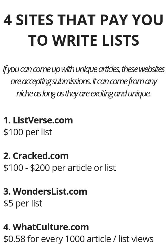 4 Sites That Pay You To Write Lists