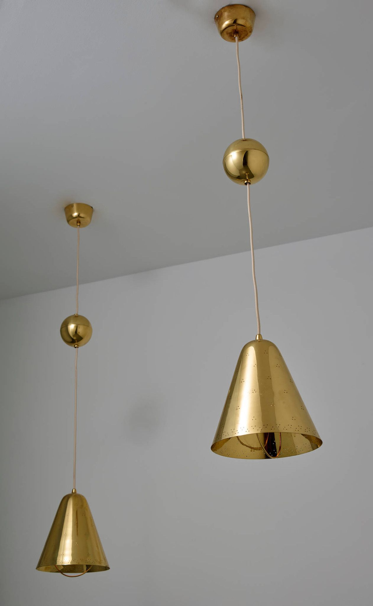 adjustable pendant lighting. Paavo Tynell, Pair Of Brass Adjustable Pendant Lights, Taito Lighting M