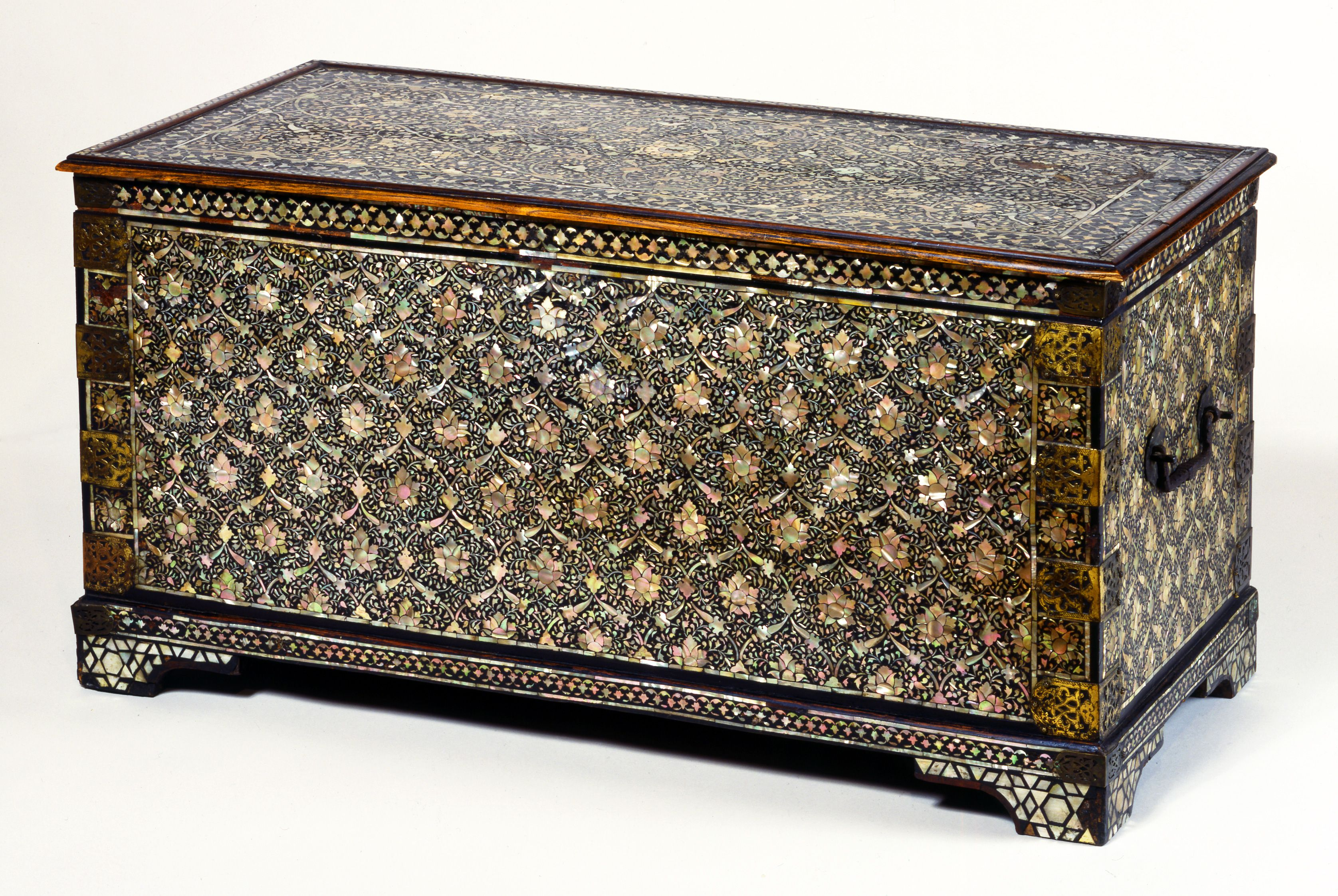 Storage Chest, Wood, Inlaid With Mother Of Pearl In Black Lacquer India
