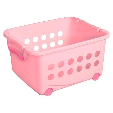 Circo Stackable Wheeled Storage Bin Pink Stacking Basket