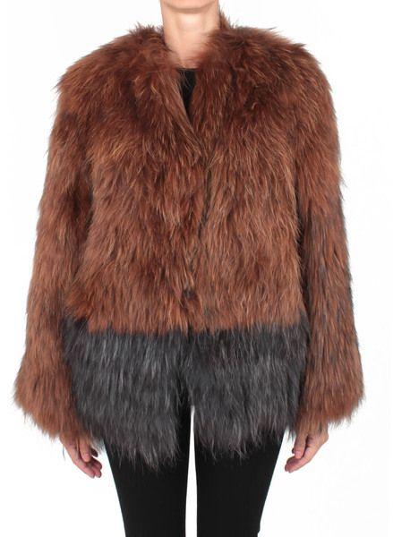 LANEUS Brown Bicolour Fur Coat - Lyst