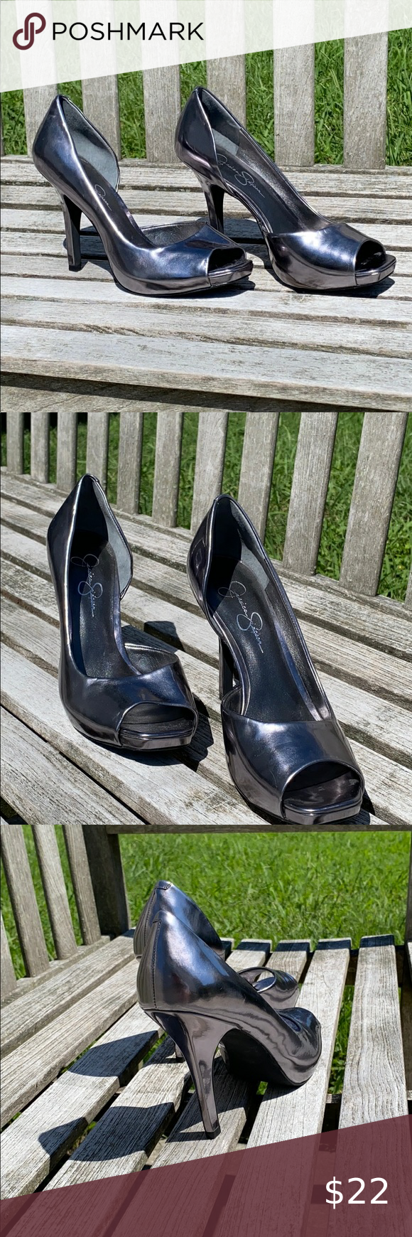 Size 9 Jessica Simpson Pewter Heels in