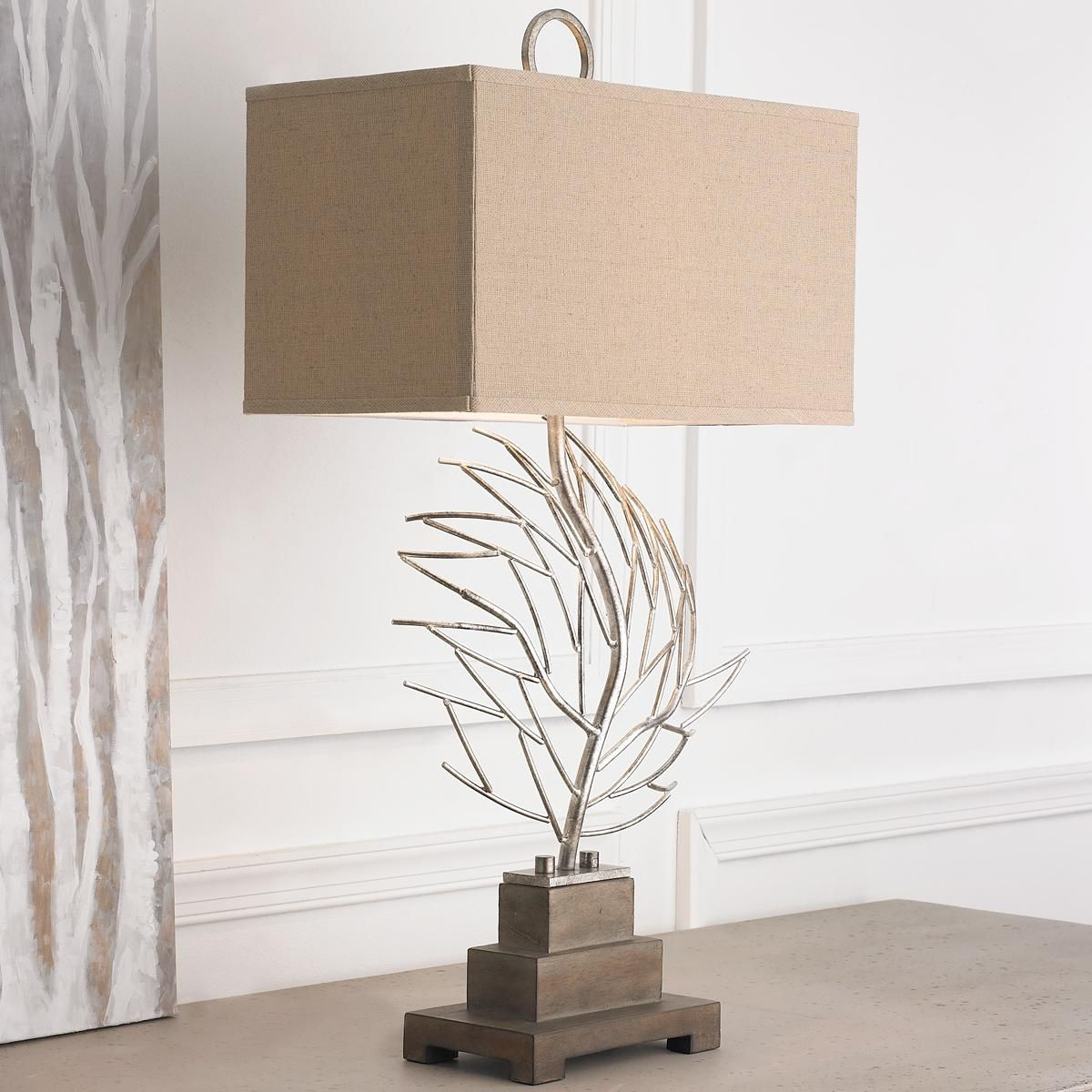 Strata Art Glass Pendant Light Silver Fan Coral Table Lamp With Elegant Modern