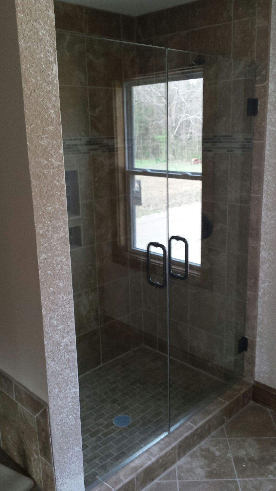 Frameless Double Shower Doors Featuring 38 Clear Glass And Oil