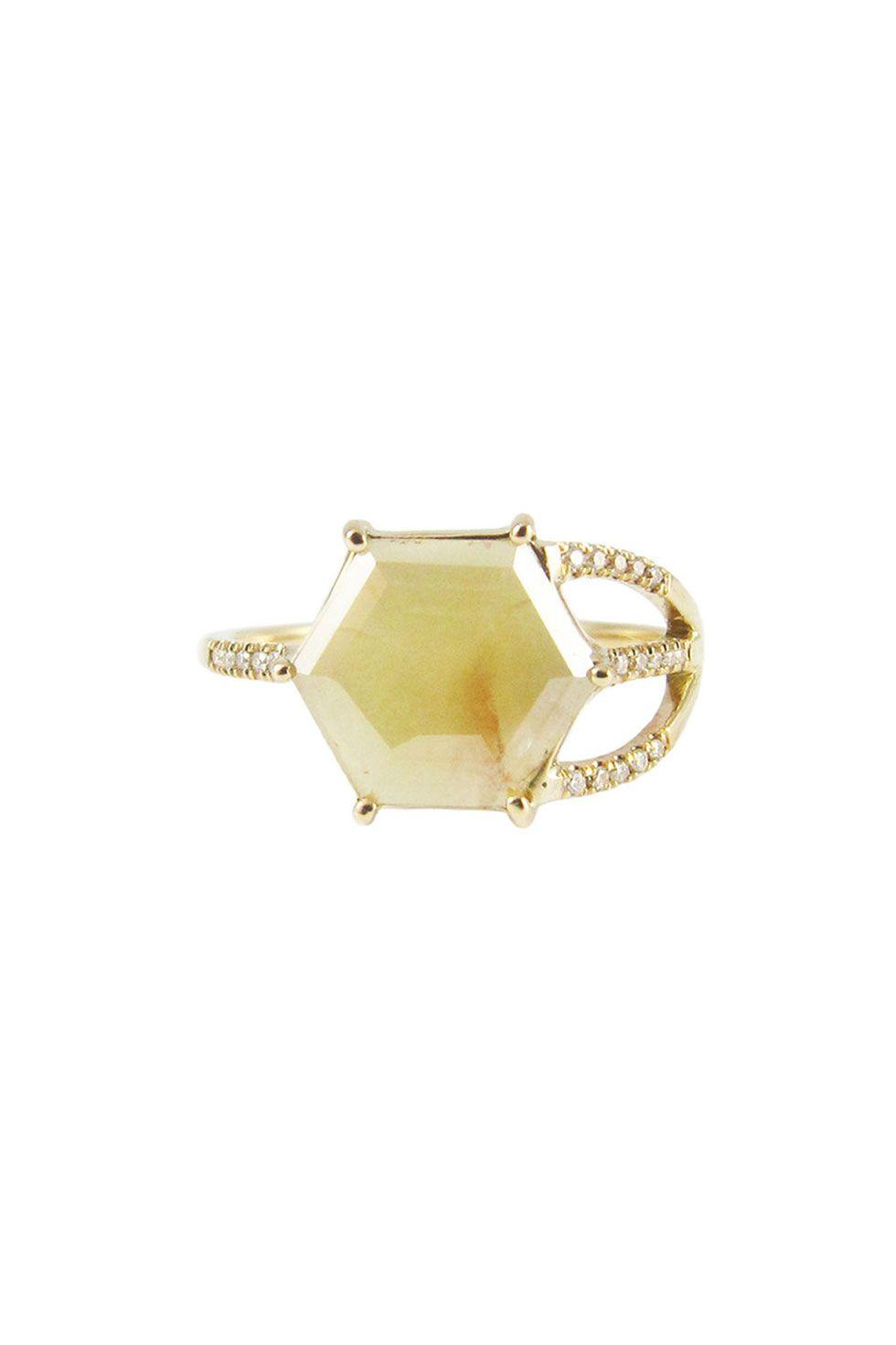 Jenniw Kwon Hexagon Slice Half Cage Ring, $4,500; jenniekwondesigns.com   - ELLE.com