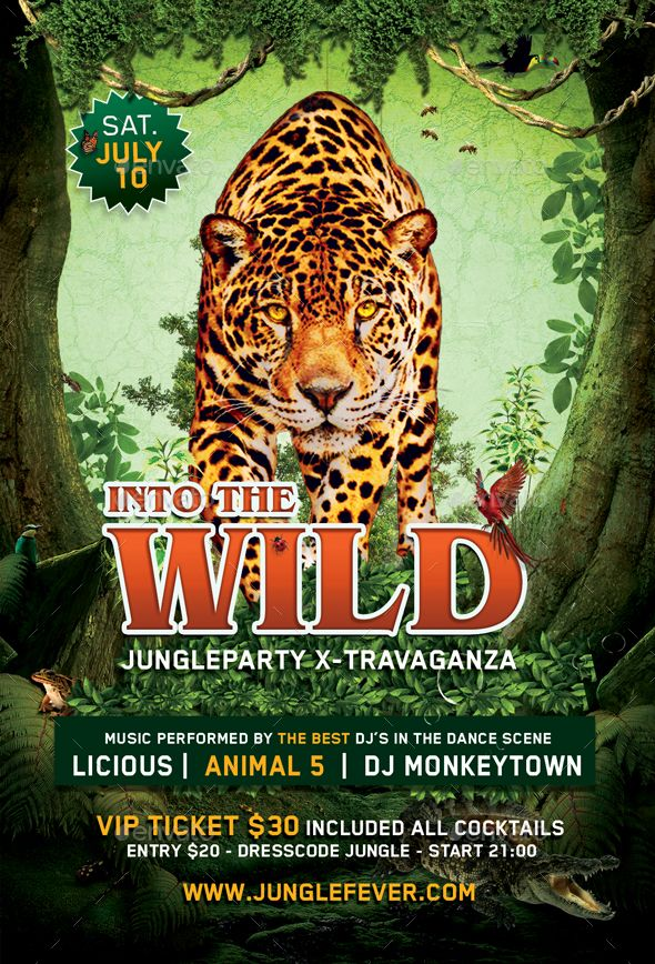 jungle party flyer  print