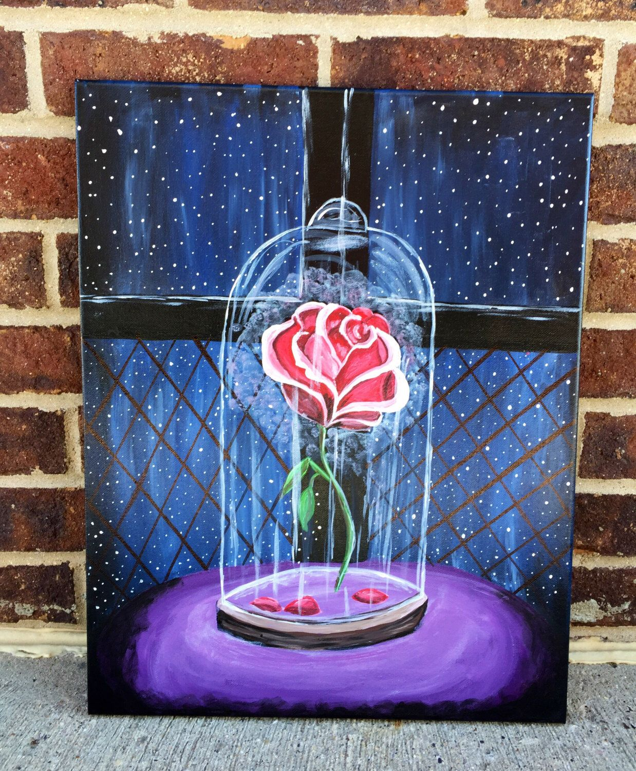Paint Ideas Canvas: Disney Beauty And The Beast Rose Painting In 2019