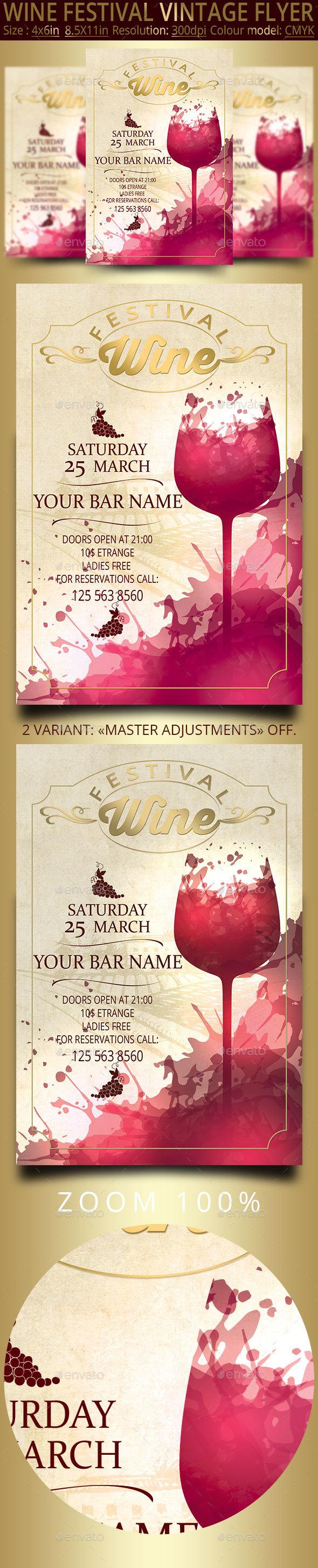 Wine Festival Vintage Flyer Wine Festival Flyer Club Design