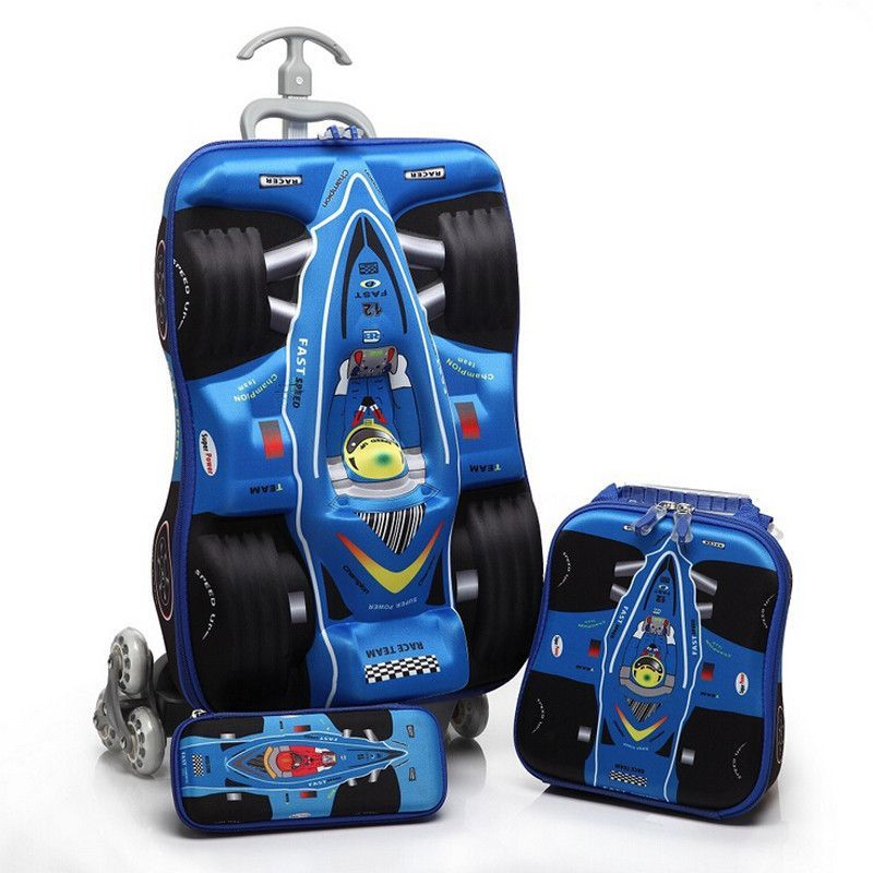 3D Stereo Trolley Bag Cute Compact Car Kids Travel Suitcase Boy Girl Cartoon Travelling Luggage