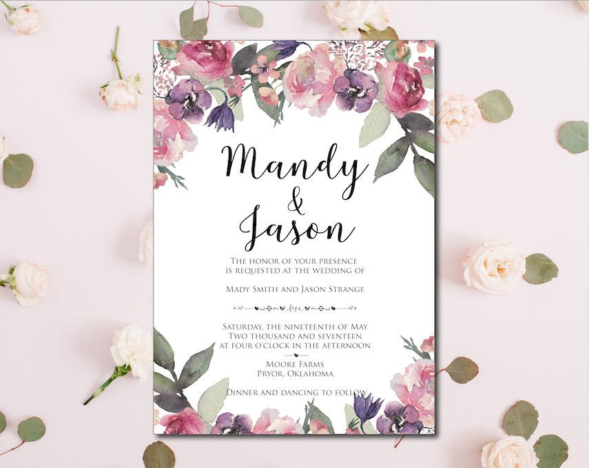 Wedding Invitation Template Invitation Suite Template Pink