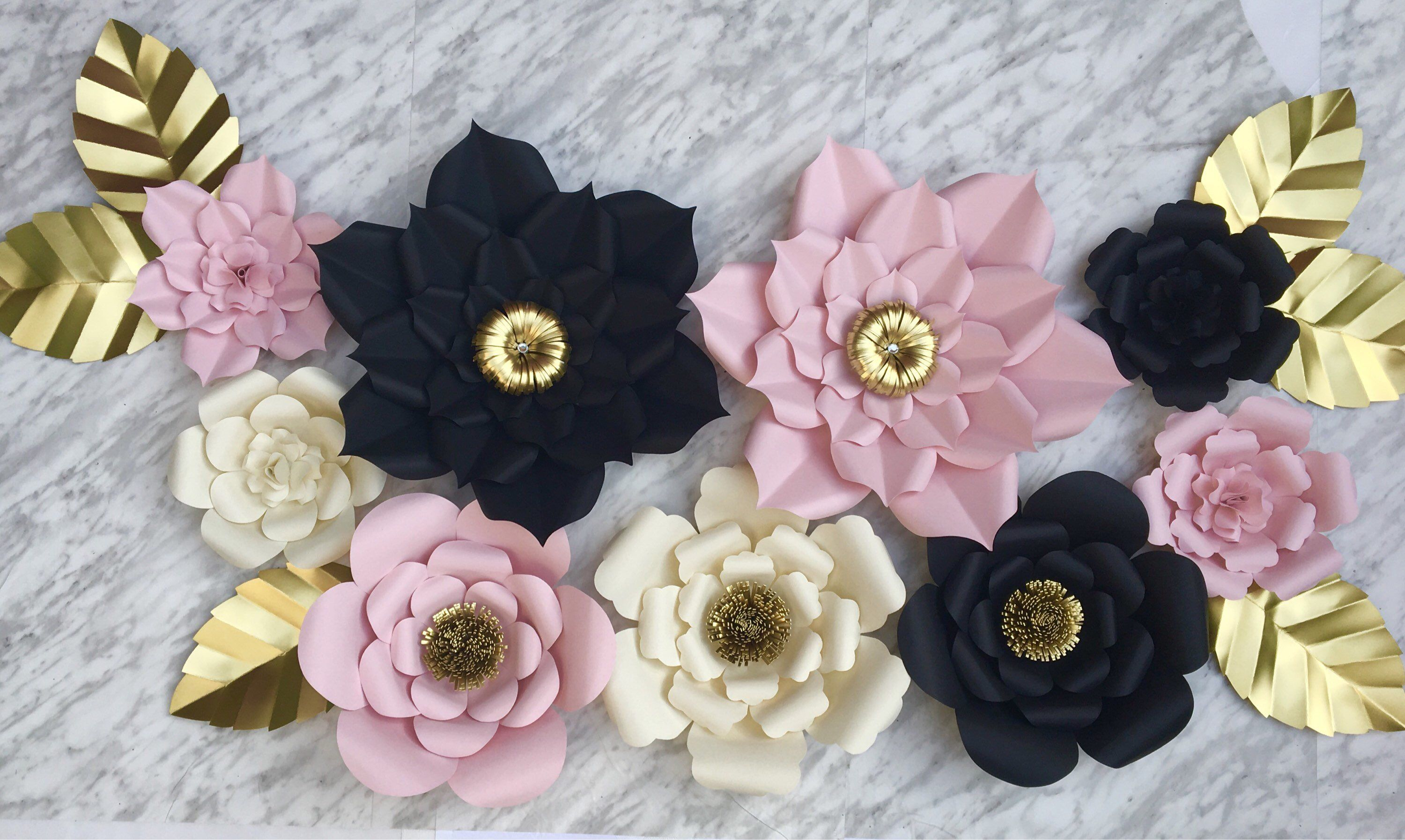 Paper Flowers wall decor  Set of   baby shower  bridal  wedding
