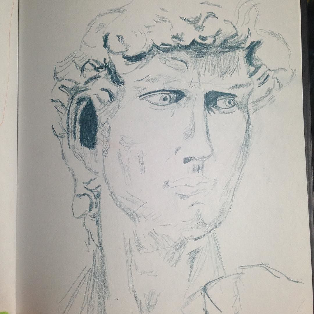 Sketching is getting better.  Day two: 21 days of David.  #sketch #sketchbook #david #eyes #face #sculpture #derwentdrawing #krstyphyr #art