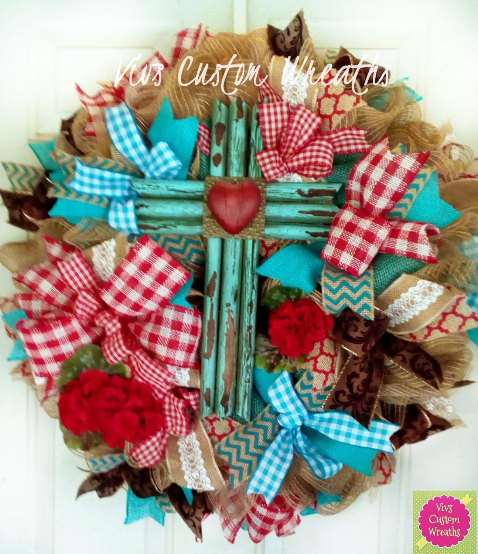 Turquoise Rustic Cross Wreath, Year Round Wreath, Front Door Wreath,  Valentine Burlap Wreath
