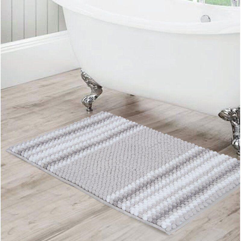 Irvine Rectangular Polyester Non Slip Striped Bath Rug In 2020 Striped Bath Rug Bath Rug Chenille Bath Rugs