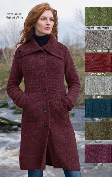 good out x popular brand buy online Irish Knitwear - Donegal Sweater Coat - Made in Ireland ...