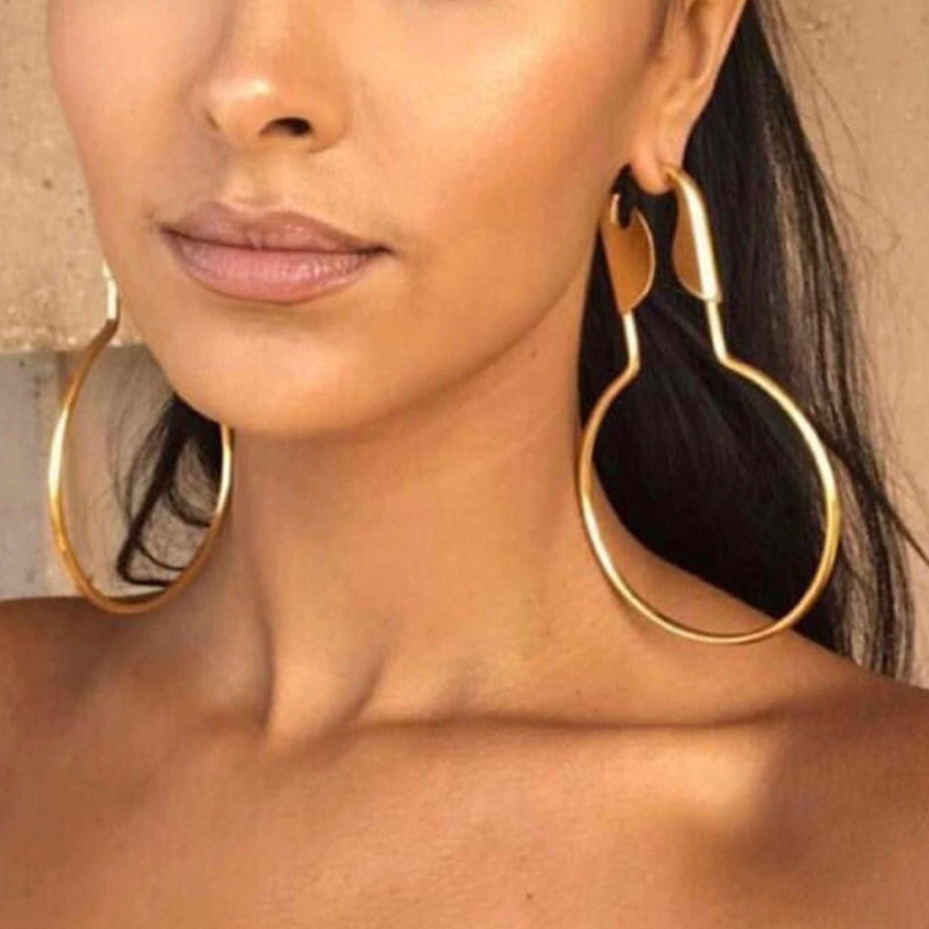 Large Safety Pin Hoops Earrings Cat Walk Of Fame New