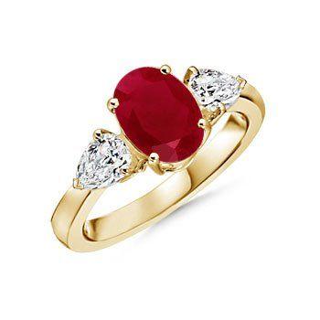 Angara Riya Ring - Oval Ruby Engagement Ring in Platinum mu30Wr
