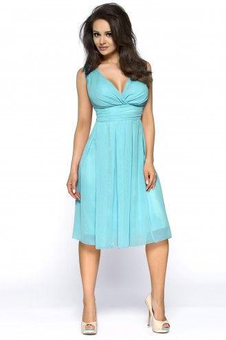 70e664ab96 Turkusowa sukienka z kopertowym dekoltem do kolan