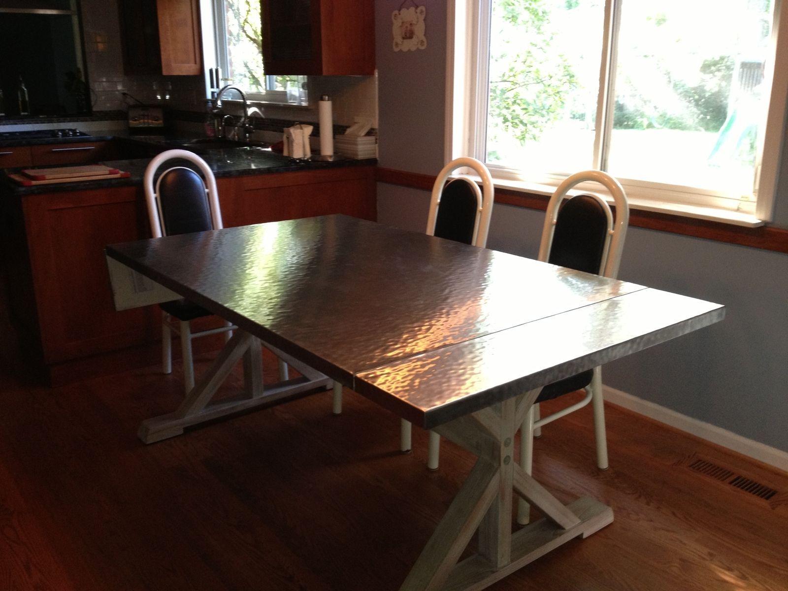 Steel Dining Table Handmade Custom Hammered Stainless Steel