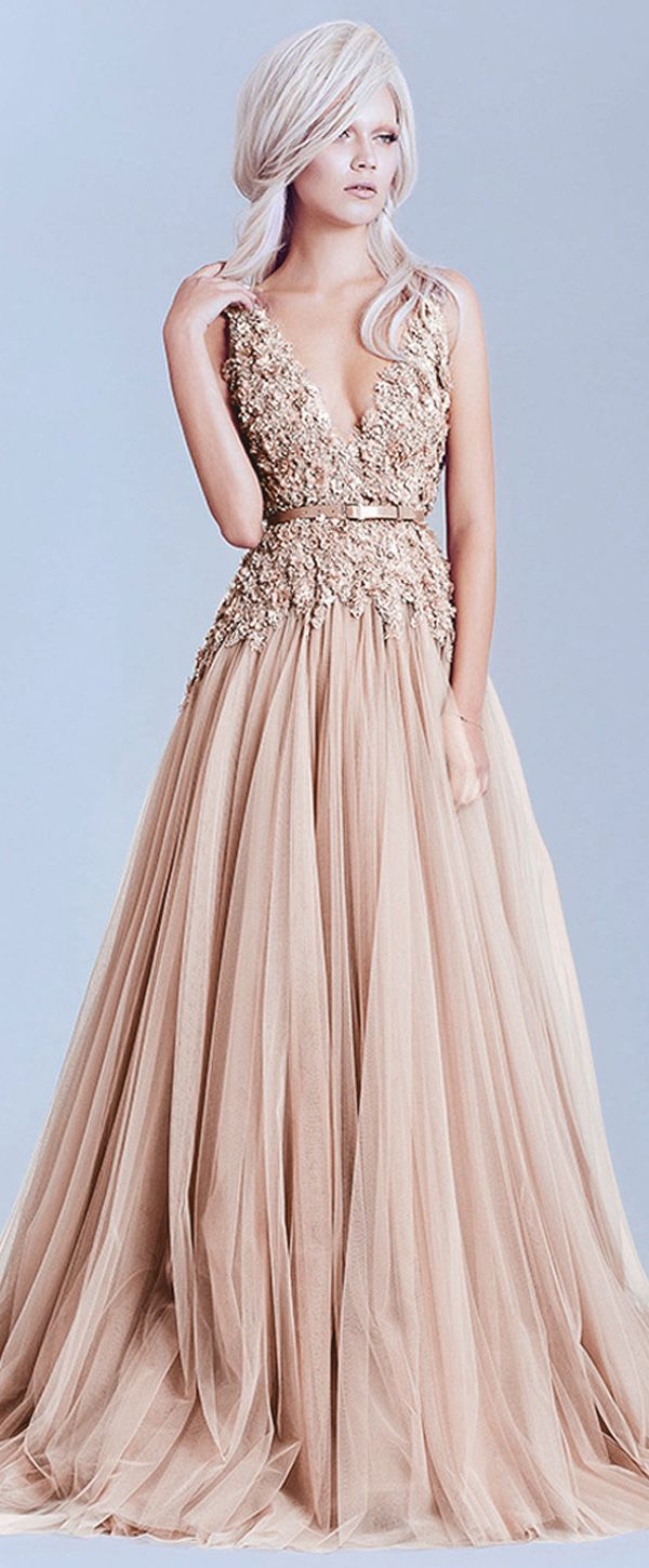a789067023f5a Charming Tulle & Lace V-Neck A-Line Evening Dresses With Lace Appliques