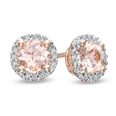 6fc943263 5.0mm+Morganite+and+Diamond+Accent+Frame+Stud+Earrings+in+10K+Rose+Gold