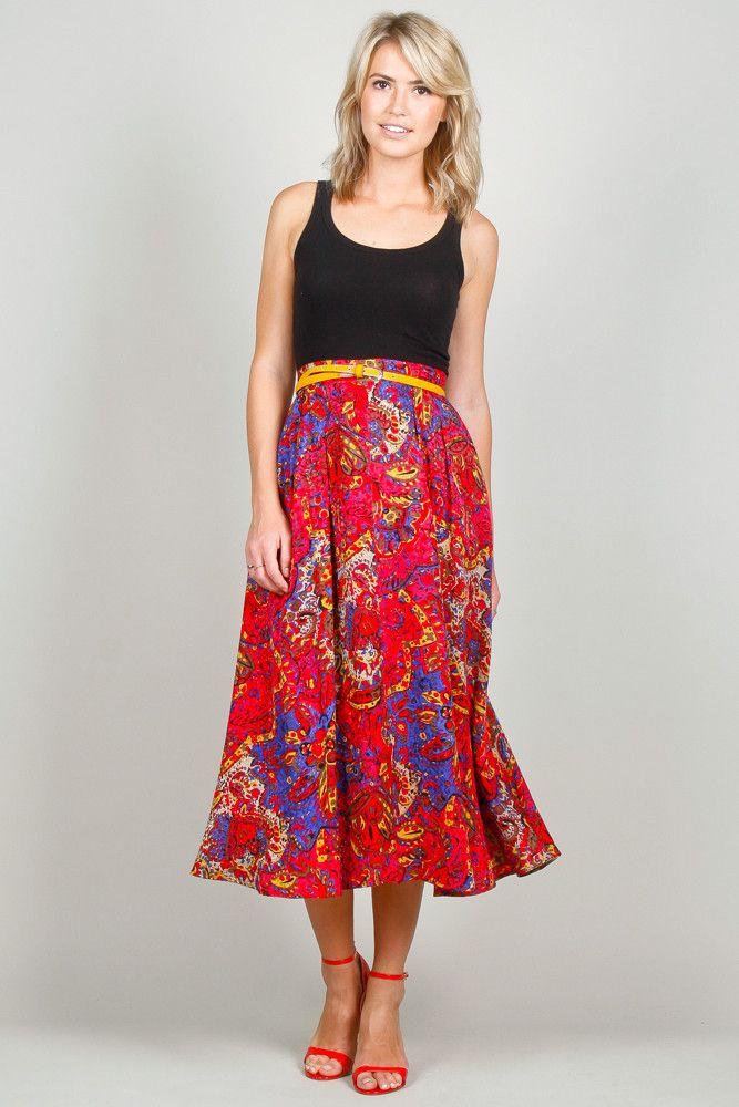 Cherry Red Floral Silk Midi Skirt | Produkter, Nederdele og ...
