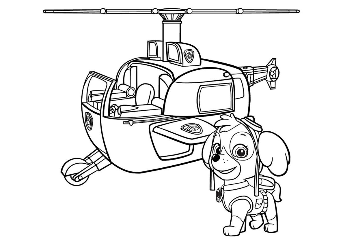 Skye With A Helicopter High Quality Free Coloring From The Category Paw Patrol More P Paw Patrol Coloring Paw Patrol Coloring Pages Airplane Coloring Pages