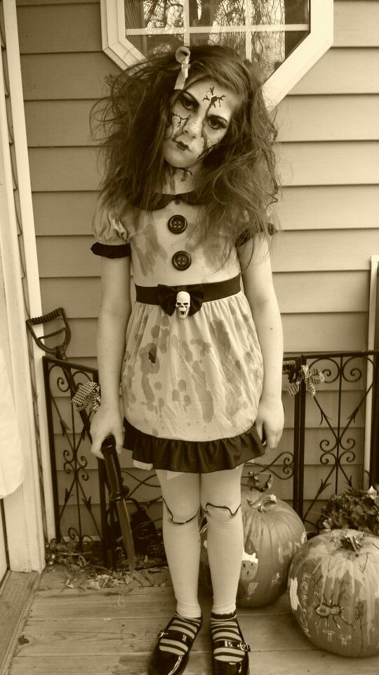 Scary doll costume makeup