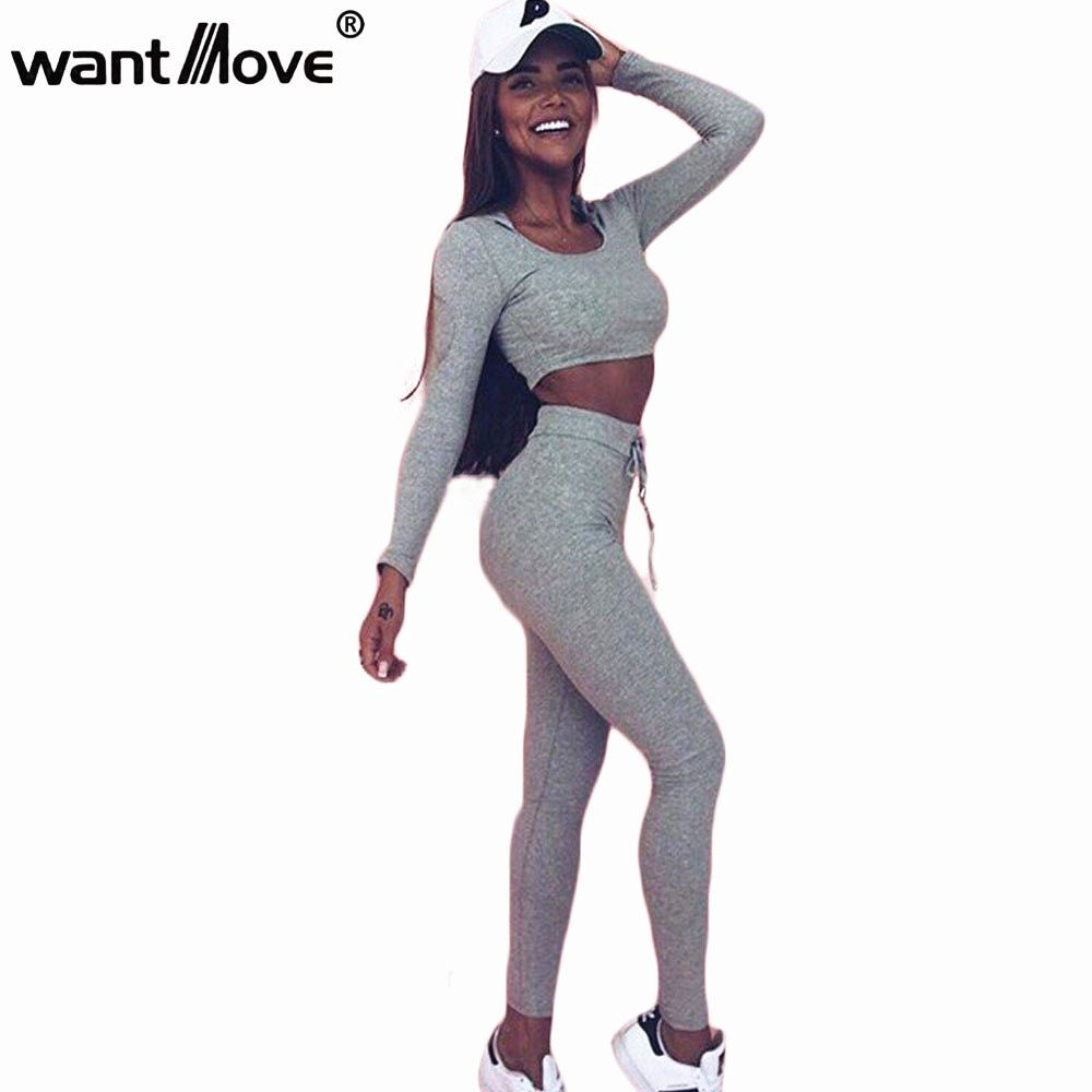 ee6355b5bfc Wantmove 2 piece set women suit for fitness outfit two piece crop top  legging set hoodie hooded sweatshirt sweatpants set WM018